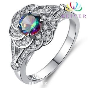Luxury Rainbow AAA CZ Flower Ring  Sz 7 NEW